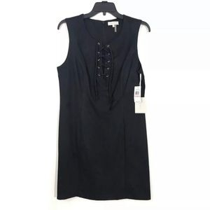 1 STATE 10 Black Faux Suede Lace Up Mini Dress NWT